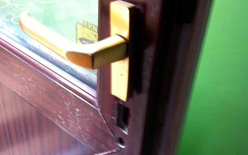photo of a broken upvc door